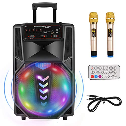 affodable Portable karaoke machine, 12-inch Bluetooth subwoofer, rechargeable battery-powered wireless PA speaker, two wireless microphones, ideal for meetings, conferences and performances