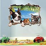 LING YUN Co,Ltd Nuevo 3D Perros Lindos Gato Ratón Etiqueta De La Pared Extraíble Tilet Pegatinas Baño Decoración del Hogar Póster Calcomanías De Pared De Animales Papel Tapiz 70X50Cm