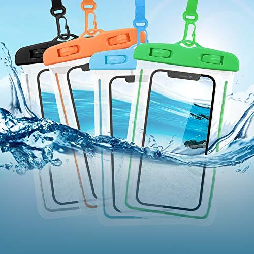 Custodia Impermeabile Smartphone, KEELYY Custodia impermeabile universale - 4 pezzi, IPX8 Custodia Subacquea per iPhone 12 PRO Huawei Samsung Galaxy Fino a 6.6 Pollici