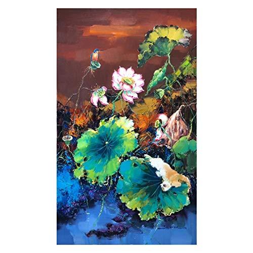 BAJIE Pintura pintada a mano de flor de loto pintura al óleo...