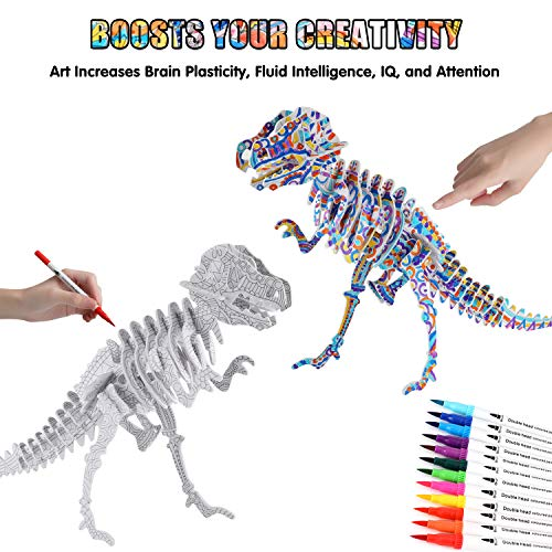 BEARUN 3D Coloring Puzzle Set, Arts and Crafts for Girls and Boys Age 6 7 8 9 10 11 12 Year Old, Fun Educational Pain   ting Crafts Kit with Supplies for Kids, Birthday Toy Gift for Kids (5-Pack)