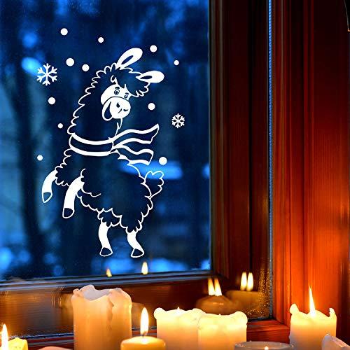 ilka parey wandtattoo-welt Fensterbild Alpaka Lama im Schnee Schneeflocken Punkte Winterlandschaft Fensterdeko Kinderzimmer M-2404 - ausgewählte Größe: *M - 17cm breit x 30cm hoch*