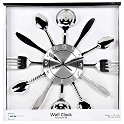 Mainstays Kitchen Decor Utensils Wall Clock Zinc 15 inches