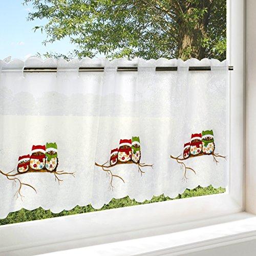 Kamaca Bistrogardine Küchengardine Fertiggardine VERGNÜGTE EULEN - Familie Weisses Voile mit Gestickten Eulen (H/B 45x115) Scheibengardine (Bistrogardine 45 x 115 cm)