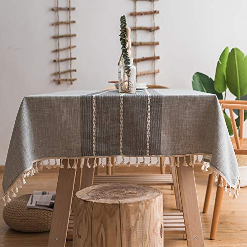 Mokani Washable Cotton Linen Stitching Tassel Design Tablecloth, Rectangle Table Cover Great for Kitchen Dinning Tabletop Buffet Decoration (55 x70 Inch, Gray)