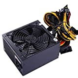 ATX 1600W Power Supply for Rig Ethereum Bitcoin Mining 90+Gold 140mm Cooling Fan with 150CM US Plug Adapter Cable