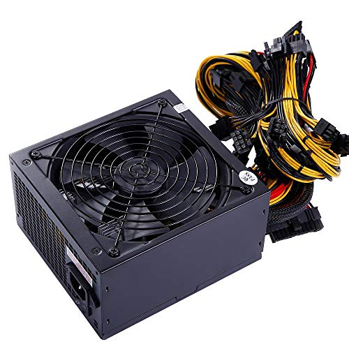 ATX 1600W Power Supply for 6 GPU Rig Ethereum Bitcoin Mining 80 Plus Gold 140mm Cooling Fan with 150CM US Plug Adapter Cable (220V Use Only,Not for 110V)