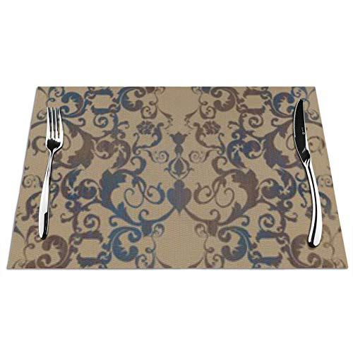 Bernice Winifred Damask Floral Mantel Individual para Mesa de Cocina, Antideslizante y Lavable, ecológico, Ideal para la Cocina tamaño 45 * 30 * 0,1 cm 1 PCS