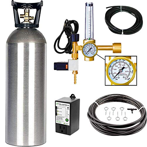 Grow Crew Hydroponic CO2 Enrichment Kit | Includes 20 lb Aluminum CO2 Tank, Carbon Accelerator C02 Regulator, Atlas 7 CO2 PPM Monitor and Active Air Rain System to Shower Your Plants with CO2