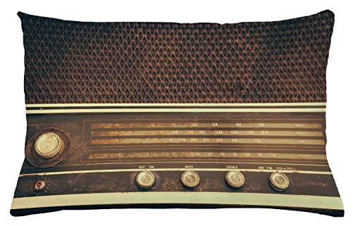 ABAKUHAUS Vintage Funda para Almohada, Antiguo Retro Estilo Años 60 Radio Tocadiscos...