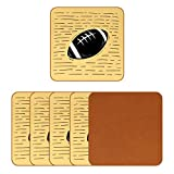 DEYYA Leather Coasters for Drinks Football Print Square Mug Cup Pad Mat for Protect Furniture, Heat Resistant, Kitchen Bar Decor, Set of 6