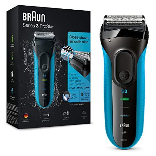 Braun Series 3 ProSkin 3010 s Afeitadora eléctrica hombre, Afeitadora Barba Inalámbrica y Recargable, Wet&Dry, Máquina de Afeitar para Hombre, Negro/Azul