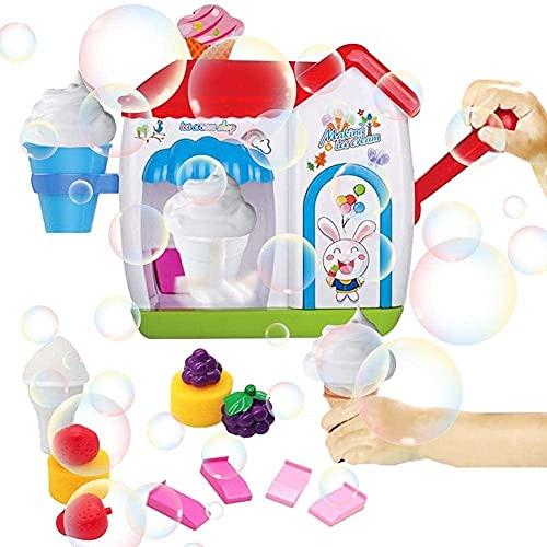 ZHZHUANG Máquina de Burbujas Máquina de Burbujas Juguete de Baño para Niños, Máquina de Burbujas para Niños Juguete para Hacer Burbujas con Temática de Helado, Máquina de Burbujas para Juegos de Agua
