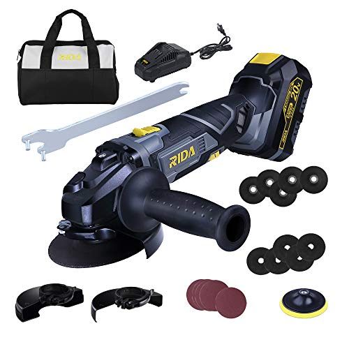 RIDA Cordless Angle Grinder , 20V 4-1/2'' Cut Off Tool , 10000RPM Variable Speed , 4.0Ah Lithium-ion Battery and Fast Charger, Dust Filter, 23Pcs Accessories