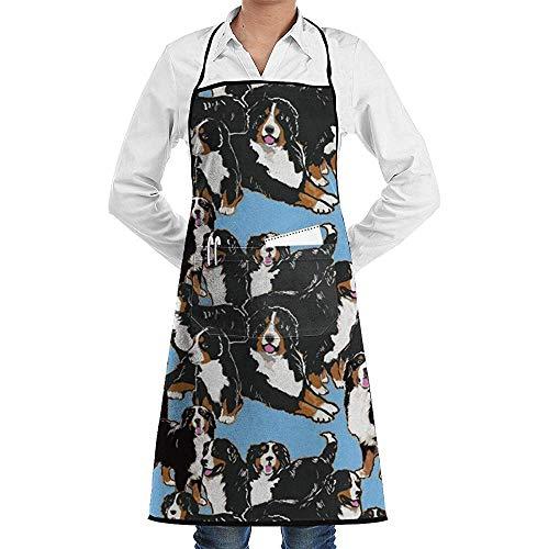 Wthesunshin Delantal Ajustable Bernese Mountain Dog con Bolsillo y Corbatas Extra largas, Delantal de Cocina para Hombres y Mujeres para cocinar, Hornear, Hacer Manualidades, jardinera, Barbacoa