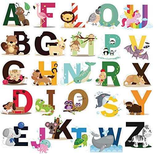DEKOSH Educational Animal Alphabet Kids Wall Decals - Baby Nursery Decor Peel & Stick Decorative Baby Stickers for Playroom, Classroom Decoration