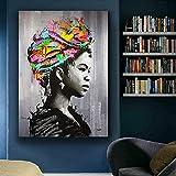 KWzEQ Art Graffiti Girl Poster Retrato Imagen Lienzo Abstracto Pintura decoración Pintura Sala de Estar,Pintura sin Marco,50X75cm