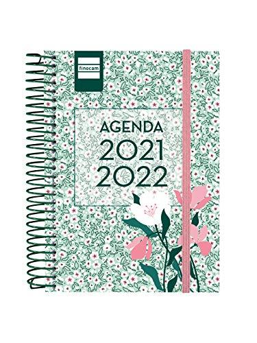 Finocam Agenda 2021 2022 1 Día página Septiembre 2021, Junio 2022 10 meses y Julio/Agosto resumidos 8º, 120x164 Secundaria Floral Euskera