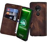 Suncase Book-Style kompatibel mit Motorola Moto G7 Plus Hülle (Slim-Fit) Leder Tasche Handytasche Schutzhülle Hülle (mit Standfunktion & Kartenfach - Bruchfester Innenschale) in antik Coffee