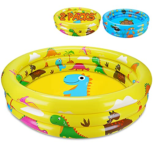 2 Packs Toddler Pools Inflatable Baby Pool Dinosaur & Sea Pool for Kids 3 Ring for Outside Kiddie Swimming Pool for Backyard Boys Girls Play Water Summer Toys Indoor Outdoor Age 1 2 3 4 5 6 Years Old