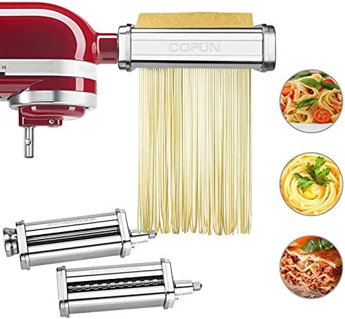 Attaccamento per Pasta per KitchenAid Robot da Cucina, Macchina per Pasta 3 in 1 Accessori per KitchenAid, Pasta Foglio Roll Taglierina Spaghetti Taglierina Fettuccine COFUN Adattatore per Pasta