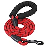 HIKISS 5 FT Strong Dog Leash, Rope Leash with Comfortable Padded Handle and Highly Reflective Threads Durable Dog Leashes for Medium and Large Dogs-Red(18-120 lbs)
