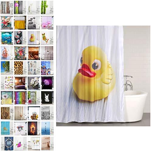 Sanilo Duschvorhang, viele schöne Duschvorhänge zur Auswahl, hochwertige Qualität, inkl. 12 Ringe, wasserdicht, Anti-Schimmel-Effekt (Ente, 180 x 180 cm)