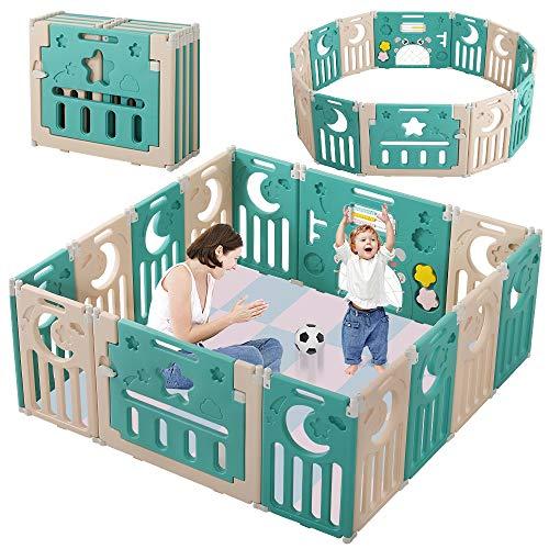 Dripex Box per Bambini, Recinto Bambini Box Neonato Protezione 14 Pannelli Barriera di Sicurezza Pieghevole con Porta e Scheda Giocattolo Indoor Outdoor (Verde+ Marrone)
