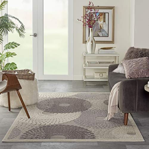 Nourison Graphic Illusions Grey Rectangle Area Rug, 3-Feet 6-Inches by 5-Feet 6-Inches (3'6' x 5'6')