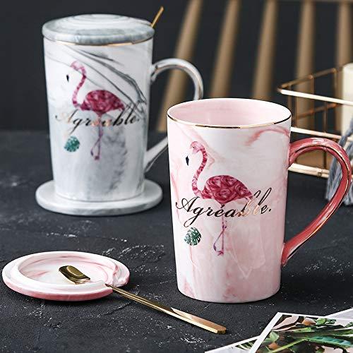 hezeyang Taza de cerámica Taza de patrón de mármol Europeo Pareja en la Taza Taza de café de Oficina Taza Creativa