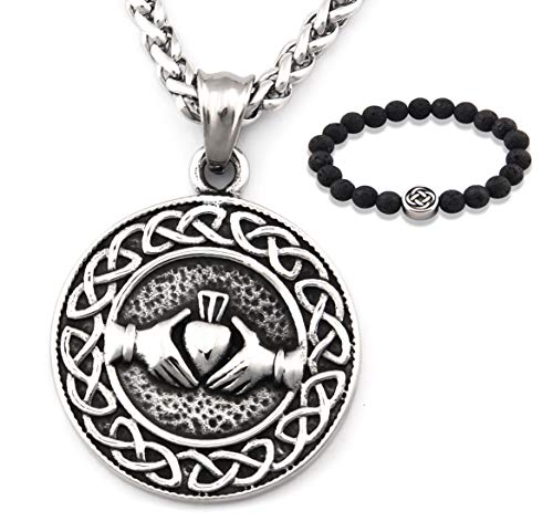 GUNGNEER Stainless Steel Celtic Knot Claddagh Friendship Endless Love Pendant Chain Necklace Eternal Jewelry Men Women (28)