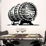 jiuyaomai Cerveza Barril Lúpulo Craft Pub Bar Cervecería Vinilo Adhesivos de Pared Decoración para el hogar Bar Tienda Mural Autoadhesivo Película de Transferencia Etiqueta 80x57cm