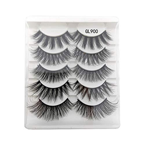 3D Mixed Chemical Fiber 5 Pairs Natural Soft Thick Cross False Eyelashes Eye Lashes Makeup Extension Tools