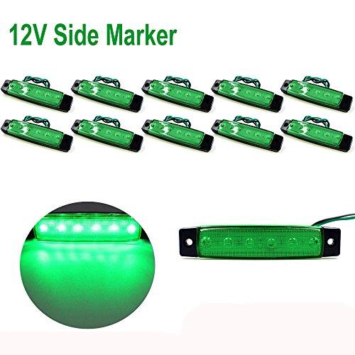 PolarLander 10Pcs 12V 6LED Indicateurs de marqueurs latéraux Lumière Lampe pour Voiture Camion Remorque Camion 6 LED Amber Clearence Bus Vert étanche