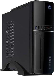 CiT S012B Slim Micro ATX/ITX - Carcasa para PC con Fuente de alimentación de 300W (Lector de Tarjeta Incorporado), Color Negro