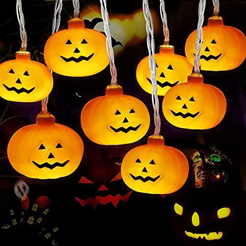 Cadena de Luces Halloween, Luces Calabaza, Luces de Cadena de Calabaza 3m 20LED, Halloween Guirnaldas, Luces LED Calabaza para la Fiesta de Halloween, Navidad, Decoración de Interiores y Exteriores