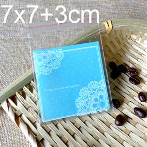 100 piezas de galletas pequeñas de color azul claro y rosa para hornear bolsas de embalaje de regalo de Navidad galletas de boda pastel caramelo bolsa de plástico azul