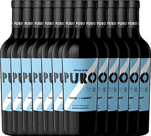 VINELLO 12er Weinpaket Rotwein - Puro Malbec Cabernet 2019 - Dieter Meier mit Weinausgießer   trockener Rotwein   argentinischer Biowein aus Mendoza   12 x 0,75 Liter