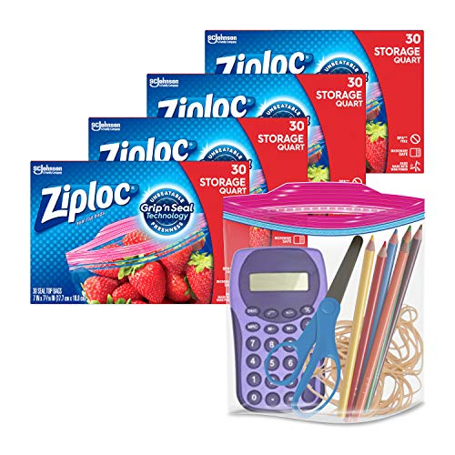 Ziploc Storage Bags with New Grip 'n Seal Technology, For Food, Sandwich, Organization and More, Quart, 30 Count, Pack of 4 (120 Total Bags)