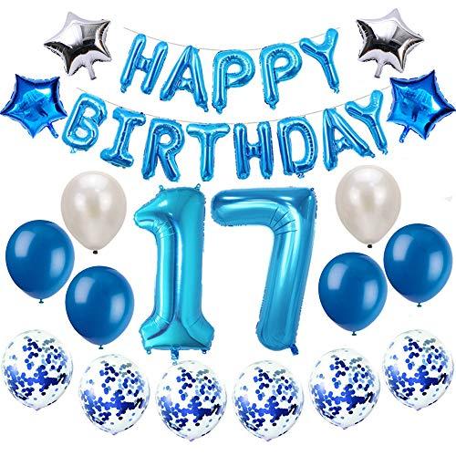 Oumezon 17 Geburtstag Dekoration Blau, 17. Geburtstag deko für Mädchen Jungen Happy Birthday Girlande Banner Folienballon Konfetti Luftballons Deko Geburtstag Party Anzahl Ballons