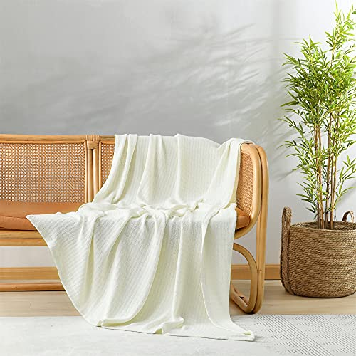 Cooling Throw Blanket, 100% Bamboo Viscose throw blanket for Hot Sleeper, Silky Soft Blanket to Keep Cool in Summer, Textured Woven Cream White Throw for Bed, Couch, Travel, Sofa, 50