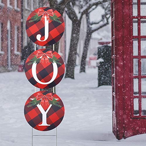 WOJOGO Christmas Decoration Joy Yard Sign Set, Weatherproof Buffalo Check Plaid Christmas Outdoor Decoration for Lawn Pathway