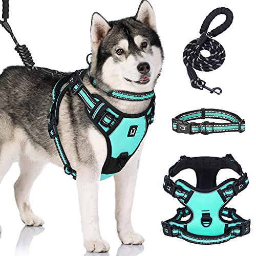 Dog Harness No Pull Waldseemuller Medium Size Harness Dog Vest with Handle Reflective Oxford Soft Vest 4 Buckles Dog Harness Easy ON and Off Walk Easy Dog Harness Hiking Harness