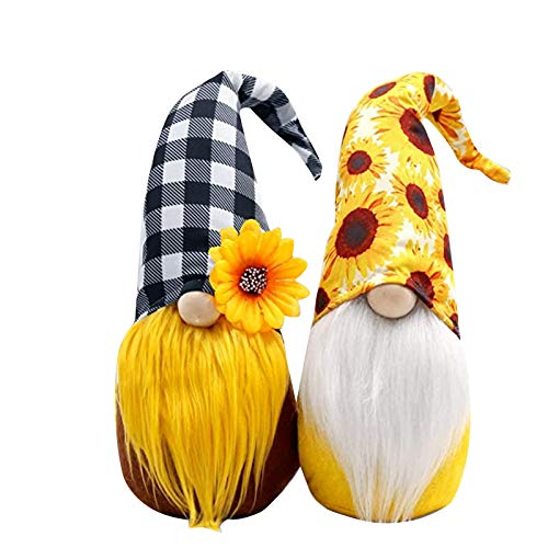Sunflower Gnome Faceless Doll Ornaments,Plush Honeybee Dwarf Toys Scandinavian Home House Farm Decoration Bee Festival Gifts (Multicolor, 2PC)