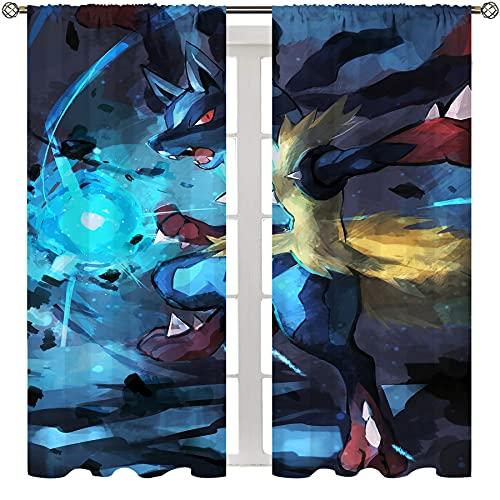SSKJTC Divisor de privacidad para sala de estar, dormitorio, cortina anime Pokemon Lucario Lucha Arte Impreso Sala de estar Dormitorio Cortinas W63xL45 pulgadas