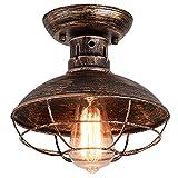 Qcyuui Lámpara de techo de jaula de metal industrial, accesorio de iluminación colgante semiempotrado E27, lámpara de araña de bronce frotado con aceite para baño de cocina de porche de granja