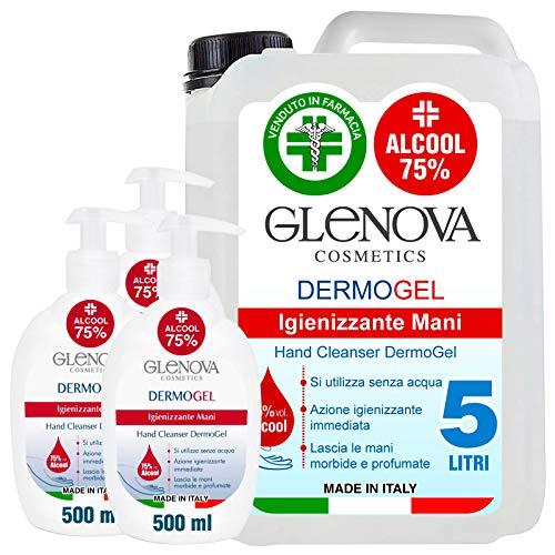 5 Litri Tanica Gel per le Mani Alcool 75% con 3x 500ml Dispenser 75% GLENOVA Igienizzante Antibatterico Sanificante Alcolico Profumato Azione Rapida Contro Germi e Batteri