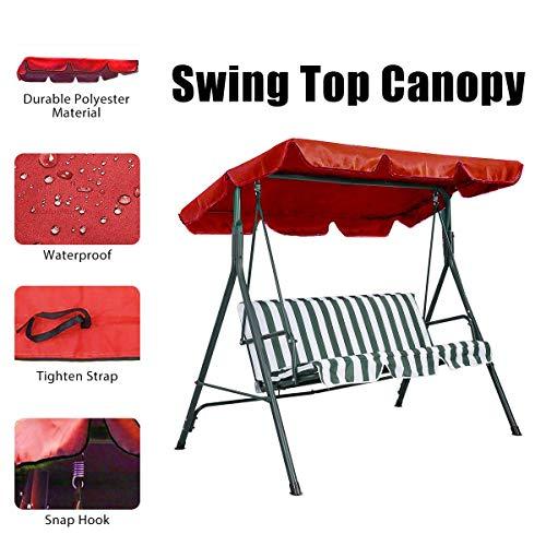 Essort Swing Top Cover, Imperméable Anti-UV Swing Top Couverture Canopy Remplacement pour Extérieur Porche Patio Swing, 190×132×14cm Rouge