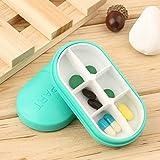 Wishbone Medicine Tablet Case 6 Parts Rectangle Shaped Portable Pill Box - Multi