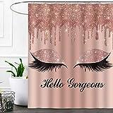 SDDSER Hello Gorgeous Unicorn Eyelash Shower Curtain, Pink Rose Gold Drips Art (Not Glitter) Background, 72 x 72 inch Bathtub Curtains Waterproof Fabric with 12 Hooks, YLLSSD1715